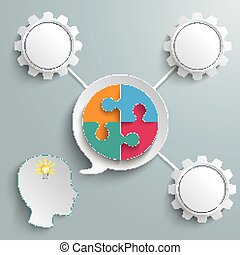 Head Speech Bubble Circle Puzzle Gears