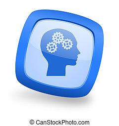 head square glossy blue web design icon