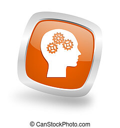 head square orange glossy chrome silver metallic web icon