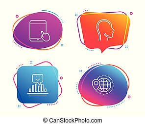 Head, Tablet pc and Smile icons set. World travel sign. Human profile, Touchscreen gadget, Positive feedback. Vector