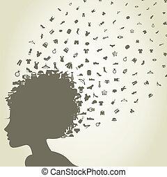 The girl a head flies clothes. A vector illustration