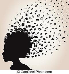 The girl a head flies a food. A vector illustration