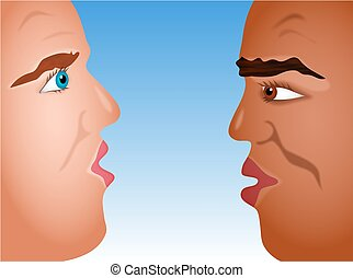 Head to Head - two men from different ethnic backgrounds...