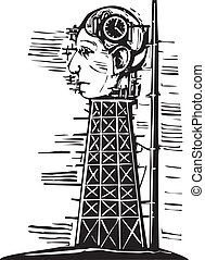 Head Tower - Woodcut image of a tower where a giant head...