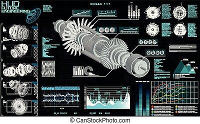 Head up Display HUD Ui, Jet Engine Hologram