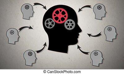 head., vecteur, animation, engrenage