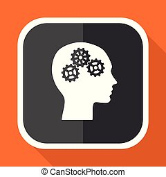 Head vector icon. Flat design square internet gray button on orange background.