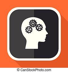 Head vector icon. Flat design square internet gray button on orange background.