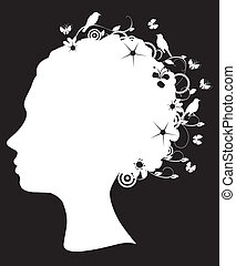 Head - Vector illustration of a floral head silhouette