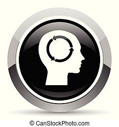 Head vector steel icon. Chrome border round web button....