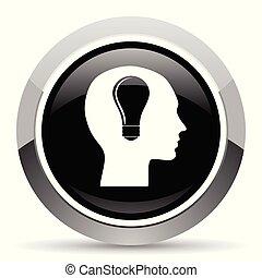 Head vector steel icon. Chrome border round web button. Silver metallic pushbutton.