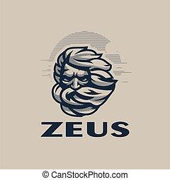 head., vector, zeus, illustration.