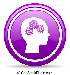head violet glossy icon on white background