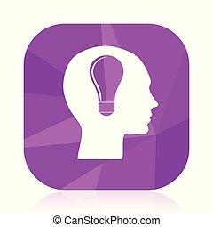 Head violet square vector web icon. Internet design and...
