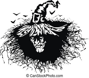 Head wicked witch - Stencil heads the evil witch. ...