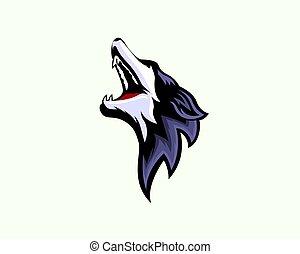 head Wild wolf open mouth face fierce logo design inspiration