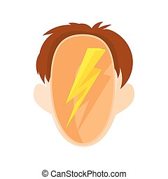 Head with a lightning icon, cartoon style