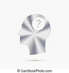Head with a question mark. Avatar wonders. Icon help