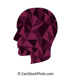head with abstract texture - purple human head profile with...