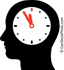 Head with an internal clock - Vector silhouette of a human...