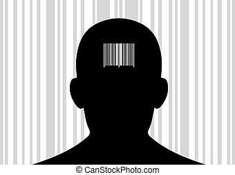 Head with barcode on its back. - Back of head with printed...
