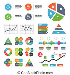 Data pie chart and graphs. Head with brain icon. Female woman think symbols. Cogwheel gears signs. Presentations diagrams. Vector
