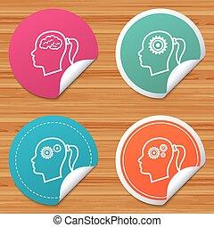 Head with brain icon. Female woman symbols.