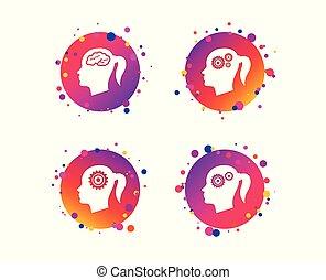 Head with brain icon. Female woman symbols. Vector