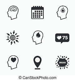 Head with brain icon. Male human symbols.
