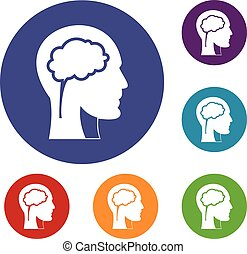 Head with brain icons set