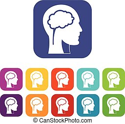 Head with brain icons set flat