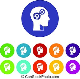 Head with brain icons set flat vector