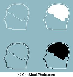 Head with brain  the black and white color icon .