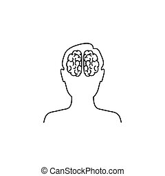 Head with brain vector line icon in flat