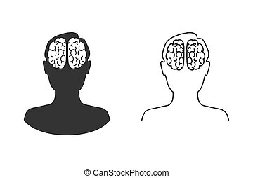 Head with brain vector line icon set in flat