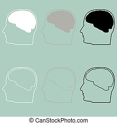 Head with brain white grey black icon.