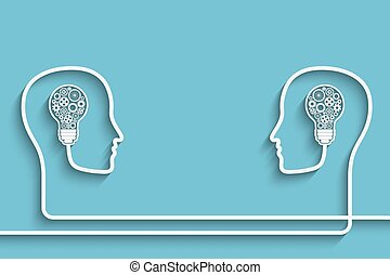 Head with bulb - Human heads creating a new idea background....