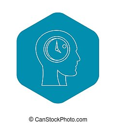 Head with clock inside icon, outline style