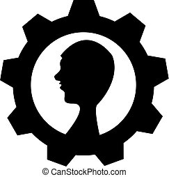 Head with gear on white background