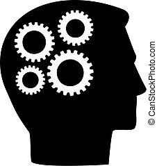 Head with gear wheels in brain