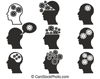 head with gears icon set - isolated black head with gears...