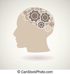 Head with gears icon, vector