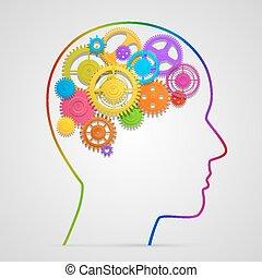 Head with gears in brain