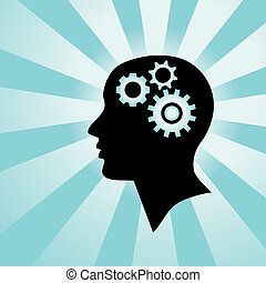 Silhouette of a human head with gears in it, representing a person who is thinking