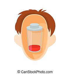 Head with glass icon, cartoon style