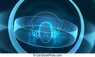 Head with headphones