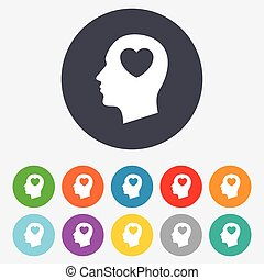 Head with heart sign icon. Male human head in love symbol. Round colourful 11 buttons. Vector