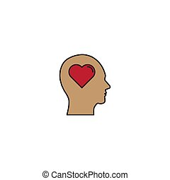 head with heart vector icon concept, isolated on white background