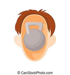 Head with kettlebell icon, cartoon style