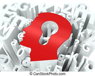 Head with Keyhole on Alphabet Background.